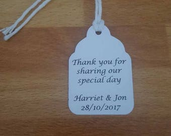 Personalised white small favour tags x 25