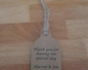 Personalised Brown small favour tags x 25
