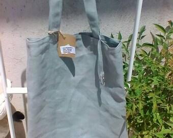 Grey linen tote bag