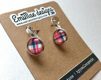 Preppy Plaid french hook earrings