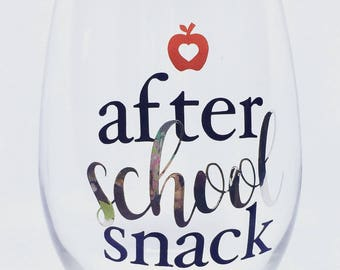 After School Snack 21 oz. stemless wine glass