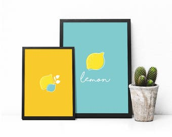 Set of 2 minimalist posters - lemon yellow blue - Deco inner - vector - download - my P'tites prints