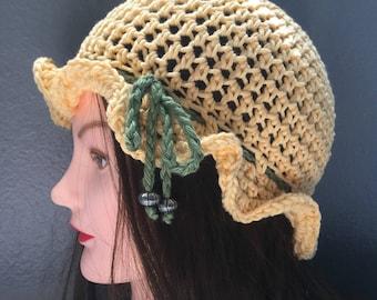 Summer cotton crochet ruffled beanie hat yellow