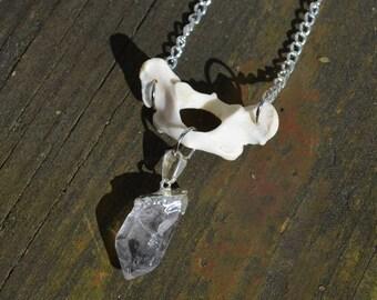 Raccoon Atlas & Quartz Necklace