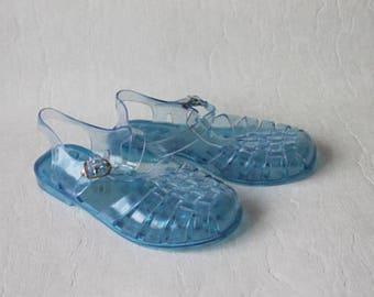 Vintage Blue Jelly Sandals Summer Rain Shoes Glittering Sandals Transparent Jelly Shoes Boho Hippie Beach Shoes Size UK 2.5 / EUR 35 / US 5