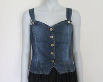 Vintage Button Down Blue Denim Jean Summer Top Corset Tank Top Medium Size