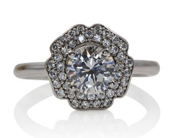 Diamond Engagement Ring with Floral Surrounding Diamonds | 6921