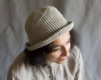 Crochet summer hat linen panama light grey dark grey knit hat fedora summer hat charcoal hat summer panama casual. Gift for woman girl her