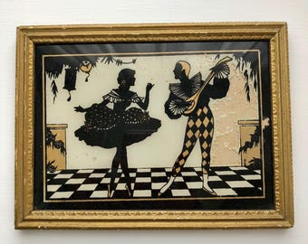 Gold Framed Black Silhouette Painting on Glass Harlequin Minstrel Troubador and Dancer