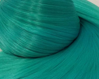 Etsy Celebration Sale Hatsune Green Teal Green Nylon Doll Hair Hank for Rerooting Barbie® Monster High® Ever After High® My Little Pony Fash