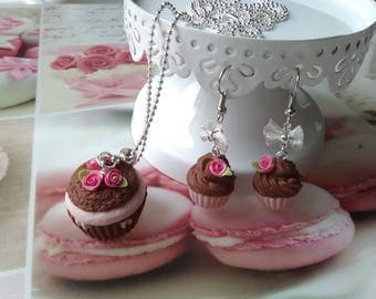 Set necklace - romantic cupcake necklace and earrings / gift idea