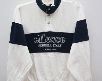 Vintage ELLESSE Perugia Italy Anno 1959 White Sweatshirt Sweater Size L