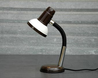 Vintage Table Lamp - Vintage Articulated Lamp - Brown White Lamp - Office Lamp - Orientable Lamp - Articulated Lamp - Reading Lamp