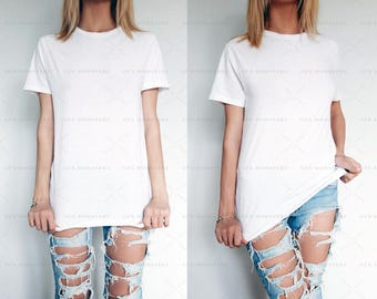 T-Shirt Mock-up | 2 Jpeg Hires Images |  Styled Photography | 2 White T-Shirts | High Resolution 300 DPI | INSTANT DOWNLOAD