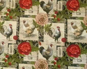 Farmhouse Chickens Stuffed Throw Pillow with Red or Black Back