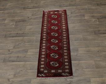 Original Handmade Wool Runner Turkoman Persian Area Rug Oriental Carpet 2X6