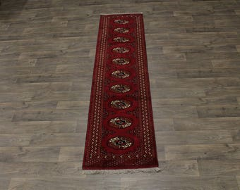 Fantastic Design Handmade Turkoman Persian Runner Oriental Rug Carpet 2ʹ3X9ʹ4