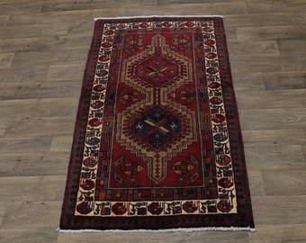 Nice Foyer Size Vintage Handmade Meshkin Persian Rug Oriental Area Carpet 3'5X6