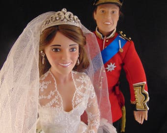 OOAK Supplies William and Kate wedding Dolls to Repaint/Restore