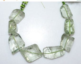"""50% OFF 1 Strand Green Amethyst Faceted Nuggets Briolette - Green Amethyst Faceted Tumble Beads , 14x19 - 16x40 mm , 7"""" - BL2106"""