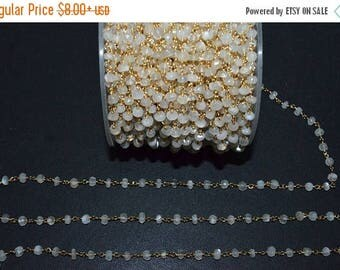 50% OFF Beautiful White Moonstone Rosary Beaded Chain - Moonstone Wire Wrapped Beaded Chain, Sold By Foot,  3.50 - 4 mm - RB5570