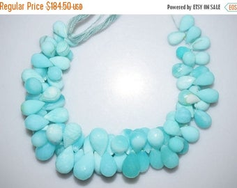 50% OFF Beautiful Natural Peruvian Blue Opal Tear Drop Faceted Briolette - Peruvian Blue Opal Beads , 11x7 - 17x10 mm , BL804