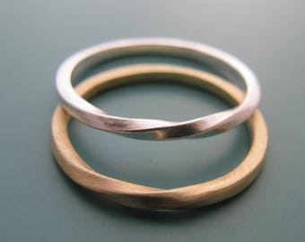 His And Hers Rings, Wedding Band Set, Couple Ring, Mobius Ring, Matching Rings For Couples, Wedding Bands His And Hers, Mobius Wedding Bands