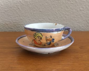 Antique Little Orphan Annie Lusterware Children's Tea Cup and saucer- 1930's Lusterware Annie and Sandy Cup and Saucer