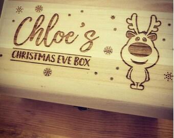 Personalised Luxury Wooden Christmas Eve Box - Engraved Cartoon Reindeer Design.