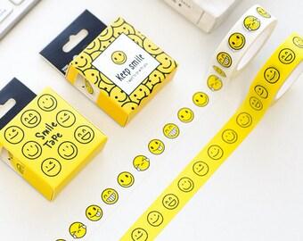 Expression Washi Tape,  emoji Washi Tape, smile tape, face, yellow, Masking Tape, 15mmx10m, Pastel Washi Tape, Travel Journaling, Deco Tape