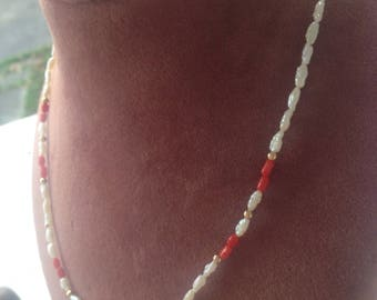 16inhes one strand fresh water pearl and red coral necklace