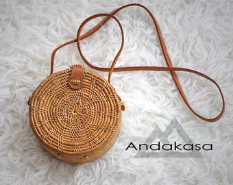 Small Size Unique Round Ata Rattan Shoulder Bag, Beautiful Handmade Rattan Summer Bag, A Perfect Birthday Gift For Her