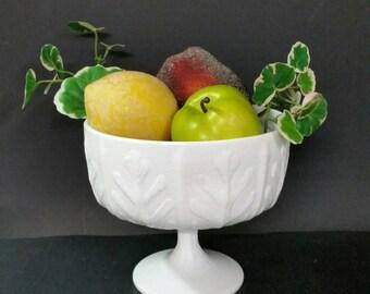 Vintage milk glass pedestal bowl. Marking E.T.D. 1975