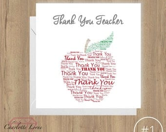 Thank You Teacher Card - Personalised Design - Thank You Card - School Teacher - Printable Card - Digital Download File - Typography Art