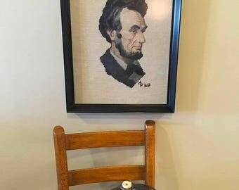 On Sale Abraham Lincoln framed art needlepoint crossstitch wall decor framed Abraham Lincoln picture Americana history decor cottage preside