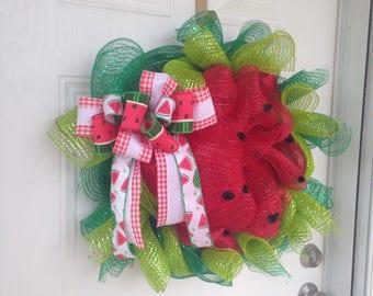 Watermelon wreath deco mesh & ribbon