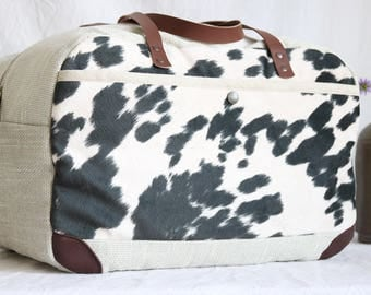 Travel bag, Weekender, cow hide optics, synthetic fur