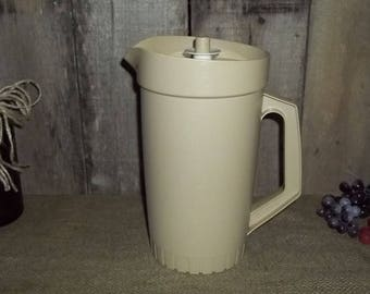 Tupperware Almond Pitcher #800-6 With Push Button Lid