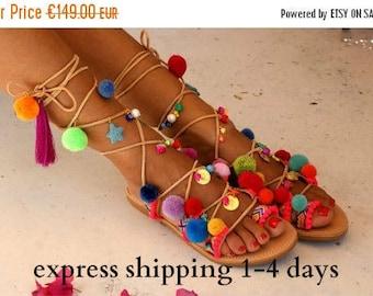 20% OFF ALEGRIA / Pom pom sandals/ Tie up Gladiator Sandals/ Boho Hippie Sandals/ Handmade Greek Women Leather Sandals/ Friendship Boho Flat