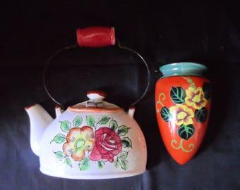 Vintage Wall Pocket   Hand Painted Oriental Wall Pocket Luster Ware Green Rim Floral Motif   1536