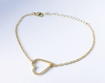 2 x heart bracelet in GOLD: pendant as a gift