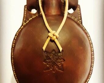 Handmade medieval leather flask