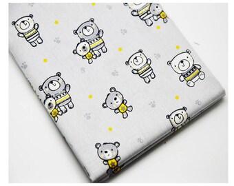 Coupon fabric Teddy bear Gray 50 x 70 cm - 100% cotton fabric Coupon - 310052