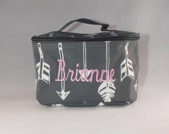 Monogrammed Arrow Cosmetic bag, Arrow cosmetic bag, Cosmetic bags, cosmetic case, monogrammed cosmetic bag, makeup bag, makeup case