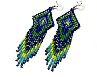 Fringe Earrings,Blue Earrings,Beaded Earrings,Seed bead,Native american,Long Fringe Earrings,Nickel Free,Gift for her,Statement Earrings