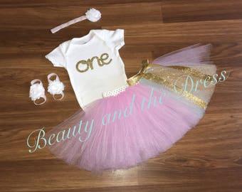First birthday, first birthday tutu, first birthday tutu set, twinkle twinkle little star tutu, gold glitter tutu set,