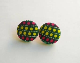 wax fabric earrings African yellow and pink polka dots