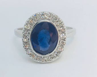 New ceylon sapphire 2.05ct diamond 14k white gold ring