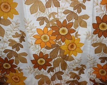 Beautiful vintage retro mid century pair of Curtain lengths with floral pattern in orange, yellow and brown. Made in Sweden, Scandinavian