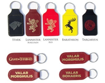 Game of Thrones Keyring - Bonded Leather - House Stark House Lannister House Targaryen House Baratheon
